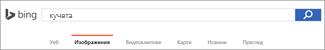 Заявка, въведена в полето за търсене на изображение в Bing