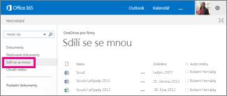 Snímky obrazovky dokumentů, které vám nasdíleli jiní uživatelé v zobrazení Sdílí se se mnou na OneDrivu pro firmy
