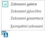 Snímek obrazovky s dostupnými zobrazeními schůzky a vybraným Zobrazením galerie