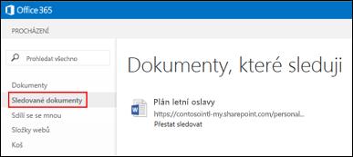 Snímek obrazovky s dokumenty na OneDrivu pro firmy, které sledujete v Office 365