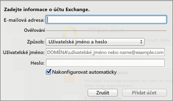 Enter your Exchange account information