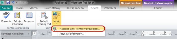 Tlačítko Jazyk na pásu karet aplikace Publisher