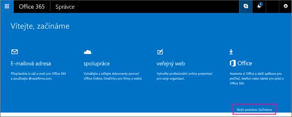 Stránka Začínáme pro Office 365 Small Business Premium