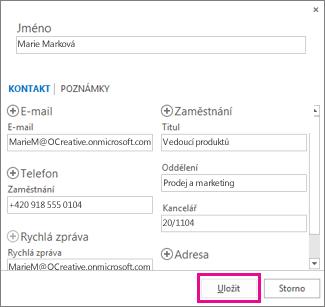 Přidání nového kontaktu ze zprávy do Outlooku