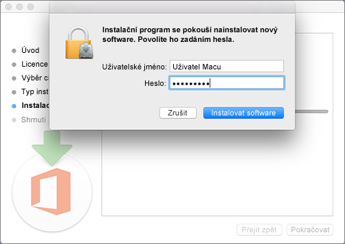Zadejte heslo správce pro zahájení instalace.