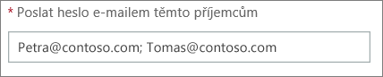 Shows how to enter more than one email address separated by semi-colon