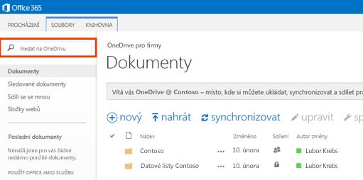 Snímek obrazovky pole dotazu OneDrivu v Office 365