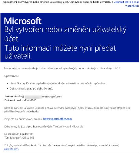 Ukázkový e-mail sinformacemi o účtu apřihlášení kOffice365