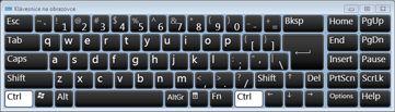 Klávesnice na obrazovce se znaky ruské cyrilice