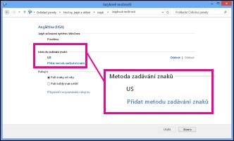 Přidání metody zadávání znaků ve Windows 8