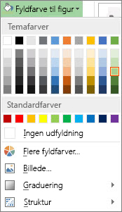 Farveindstillingsmenuen Fyldfarve til figur