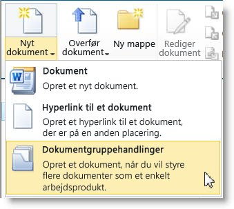 Kommandoen Dokumentgruppe i menuen Nyt dokument