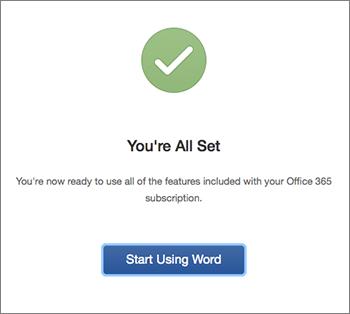 """Skærmbillede, der viser """"Det var det"""" med knappen """"Start med Excel"""""""