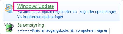 Linket Windows Update i Kontrolpanel