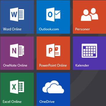 Startskærmbilledet på Office.com