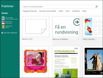 Skærmbillede af Introduktionsskabeloner i Publisher.