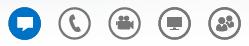 Skærmbillede af ikonerne nederst i samtalevinduet