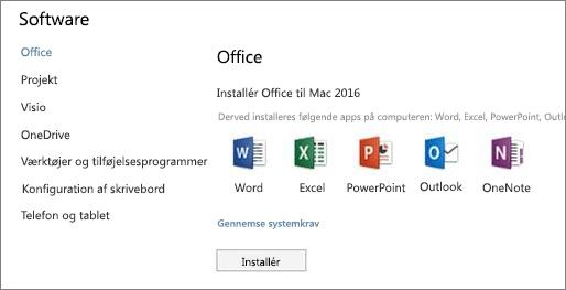 Skærmbilledet for installation af software i Indstillinger i Office 365 på en Mac