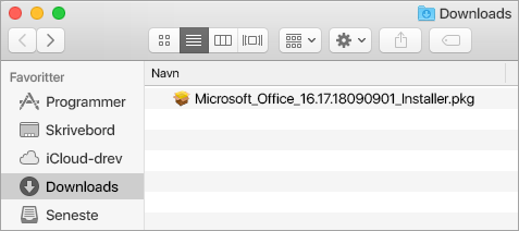 Ikonet Overførsler på docken viser Office 365-installationsprogrammet