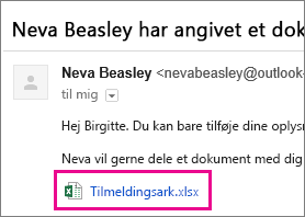 Mail, som inviterer modtageren til at dele et dokument