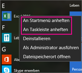 Anheften von Office-Apps in Windows 10 an das Startmenü oder die Taskleiste