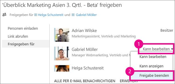 Der Befehl 'Freigabe beenden' im Fenster 'Freigeben' von OneDrive for Business