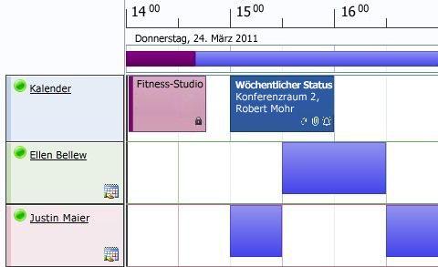 Planungsansicht im Kalender