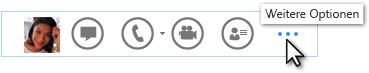 Screenshot der Lync-Schnellmenüleiste mit Darstellung von 'Weitere Optionen'