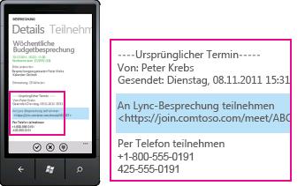 "Screenshot der Anfrage ""An Lync-Besprechung teilnehmen"" in einem Lync-Client für Mobilgeräte"