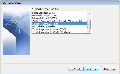 Import/Export-Assistent mit ausgewählter Option 'Outlook-Datendatei (PST)'