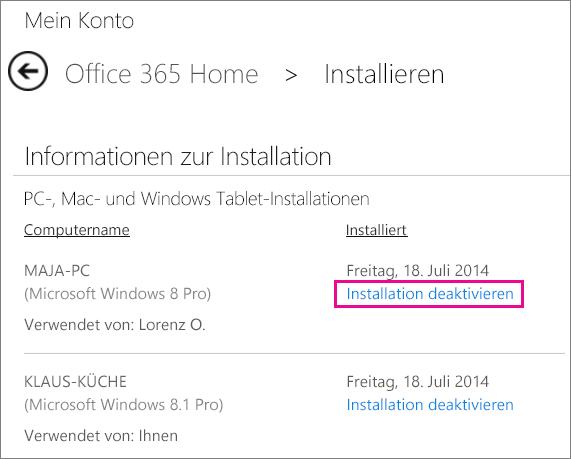 """Screenshot der Installationsseite mit markiertem Link """"Installation deaktivieren"""""""