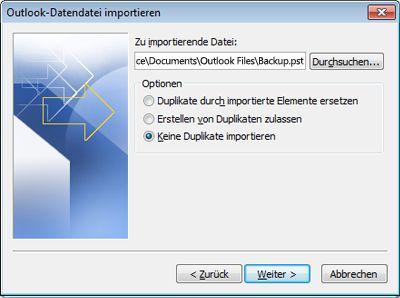 Import/Export-Assistent mit ausgewählter Option 'Keine Duplikate importieren'