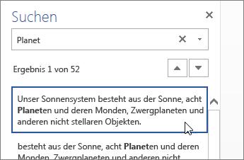 Suchbereich in Word Online