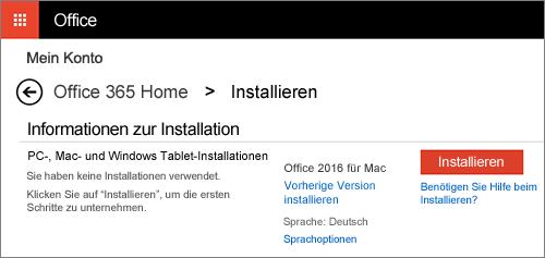 """Der zweite Installationsbildschirm auf der Seite """"Mein Konto"""""""