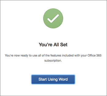 """Bildschirm mit der Meldung """"Sie sind fertig"""" und der Schaltfläche """"Excel jetzt verwenden"""""""