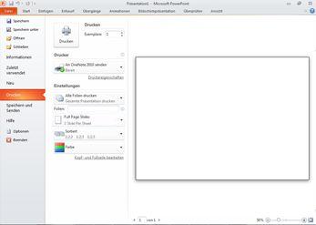 Registerkarte 'Datei' in PowerPoint 2010, Befehl 'Drucken'