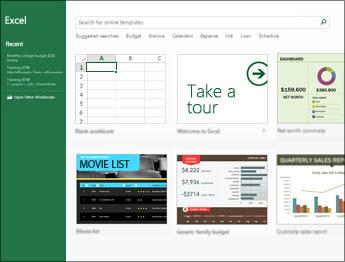 Einige der in Excel verfügbaren Vorlagen
