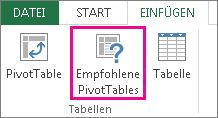 Recommended PivotTables on the Insert tab in Excel