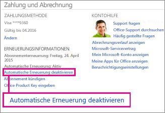 """Screenshot des Abschnitts """"Verlängerungsinformationen"""" mit markiertem Link """"Automatische Verlängerung deaktivieren"""""""