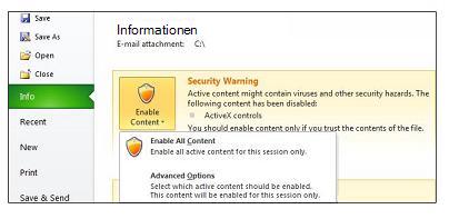 Bereich 'Sicherheitswarnung' für nicht vertrauenswürdige Datei