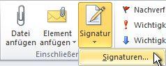 Befehl 'Signaturen' im Menüband