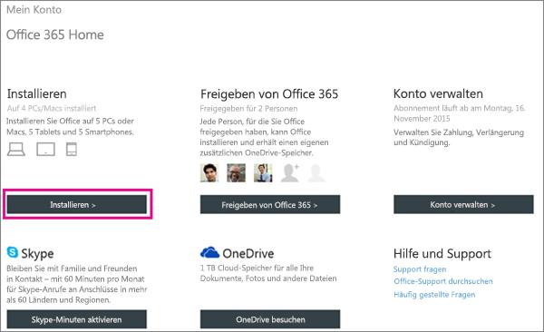 """Screenshot der Seite """"Mein Konto"""" mit ausgewählter Schaltfläche """"Installieren""""."""