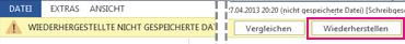 Speichern eines wiederhergestellten Dokuments in Word2013