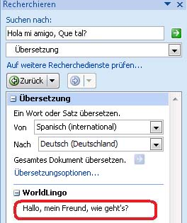 Textfeld 'Übersetzen'