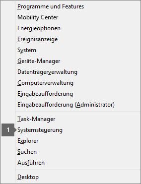 Liste der Optionen und Befehle, die nach dem Drücken von WINDOWS-TASTE+X angezeigt wird
