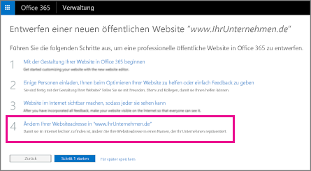 """Wählen Sie auf der Seite """"Neue öffentliche Website entwerfen"""" Schritt 4 aus"""