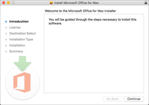 """Erster Installationsbildschirm von Mac 2016 mit hervorgehobener Option """"Weiter"""""""