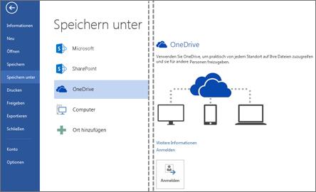 Eine Datei in OneDrive speichern