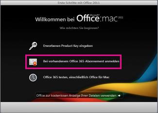 Office für Mac Home-Installationsseite, auf der Sie sich bei einem vorhandenen Office365-Abonnement anmelden