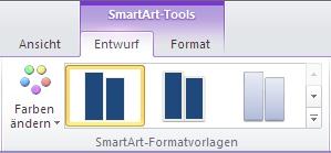 Gruppe 'SmartArt-Formatvorlagen' auf der Registerkarte 'Entwurf' unter 'SmartArt-Tools'